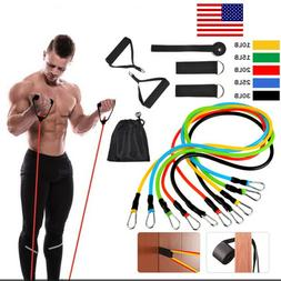11 Pcs Resistance Band Set Home Yoga Exercise Gym Workout Fi