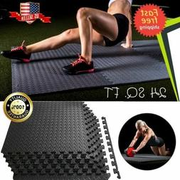 24 SQFT Workout Floor Mat GYM Home Fitness Exercise RUBBER F