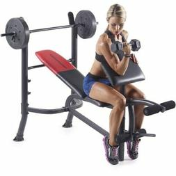 Weider Pro 265 Standard Bench with 80 lb Vinyl Weight Set
