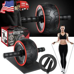 3-in-1 Ab Wheel Roller Kit with Knee Mat+Jump Rope Home Gym