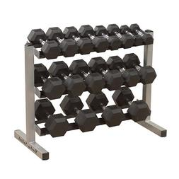 3-Tier Horizontal Dumbbell Rack w Slanted Shelves