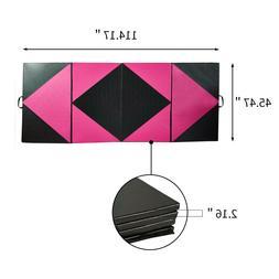 "4'x10'x2"" Gymnastics Mat Thick Four Folding Panel Gym Fitnes"
