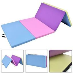 Costway 4'X8'X2'' Gymnastics Mat Folding Pu Panel Exercise M