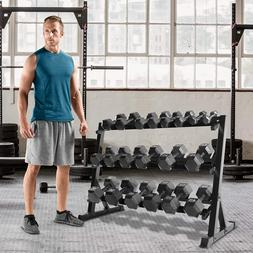 "51"" Dumbbell Barbell Rack 3 Tiers Weights Home Gym Storage W"