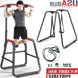 Adjustable Chin Up Stand Pull Up Bar Dip Power Tower Home Gy