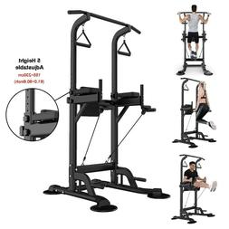 Adjustable Dip Station Chin Pull Up Bar Power Tower Push Hom