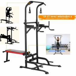 Adjustable Dip Station Chin Up Bar Power Tower Pull Push Gym