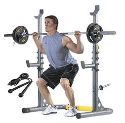 Adjustable Olympic Squat Rack, Bench Press, Preacher Curl wi