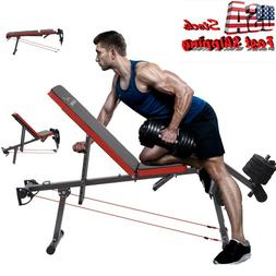 Adjustable Weight Bench Flat Incline Press Home Gym Workout