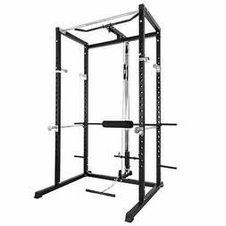 Merax Fitness Power Rack w/Lat Pull Attachment Weight Holder