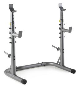 Weider Attack Olympic Squat Rack w Safety Spotter Bar Storag