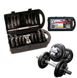 Barbell 40 Pound Weight Dumbbell Set With Case Gym Workout F
