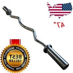 "Titan 47"" Barbell Weight Bar Olympic Ez Curl Bar Home Gym Fi"