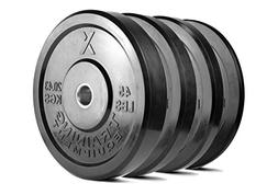 X Training Equipment Premium Black Bumper Plate Solid Rubber