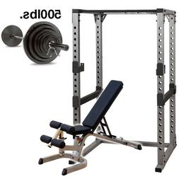 Body-Solid GPR378 Power Rack with Bench, 500 lb Weight Set H