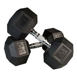 FlooringInc Body-Solid Rubber Coated Hex Dumbbells - Weight