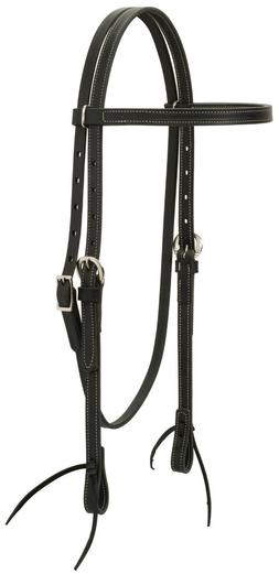 Weaver Leather Black Leather Browband Headstall, Black