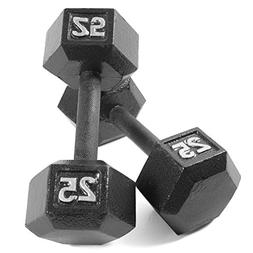 CAP Barbell Cast Iron Hex Dumbbell 25 pounds Pair NEW