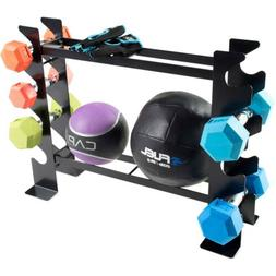 Compact Dumbbell and Fitness Accessory Home Gym Storage Rack