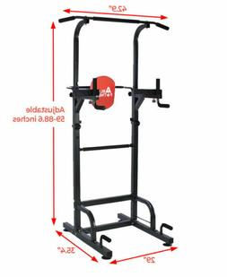 Dip Station Chin Up Bar Power Tower Pull Push Home Gym Fitne
