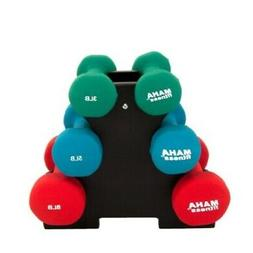 Maha Fitness Dumbbell Set with Stand, 32-Pound