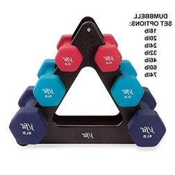 j/fit Dumbbell Set w/Durable Rack | Solid Design | Double Ne
