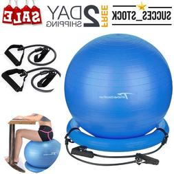 Exercise Ball With Resistance Bands & Pump Anti-Burst Yoga G