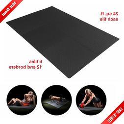 Exercise Floor Mat Gym Rubber Flooring Tiles Garage Home Fit