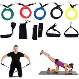 11 pcs Fitness Resistance Bands Yoga Pilates Abs Workout Tub