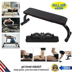 Flat Exercise Weight Lifting Bench Foldable Press Workout Fi