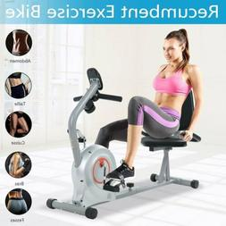Folding Recumbent Exercise Bike With Pulse LCD Display Home