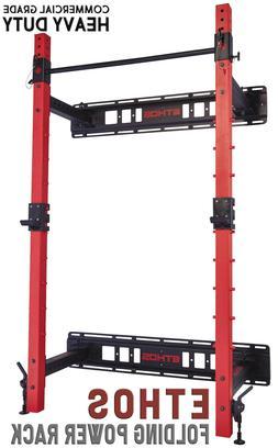 ETHOS Folding Wall Power Rack Squat Lifting Olympic Barbell