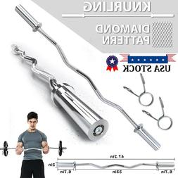 """7 ft / 86"""" Chrome Olympic Barbell Curl Bar Weight Workout Ho"""