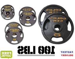"""Golds Gym 100lb Weight Set 2"""" Olympic Grip Plate Weights Hom"""