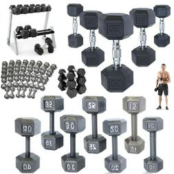 Hex Dumbbells Cast Iron Rubber Home Gym Strength Weight Trai
