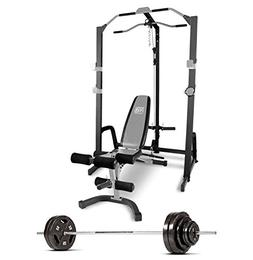 Marcy Home Gym Fitness Deluxe Cage System with Bench and 160
