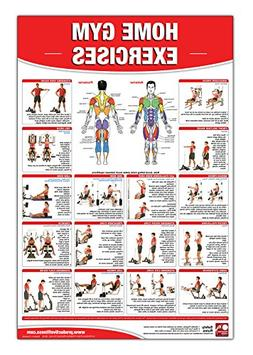 Home Gym Exercises Laminated Poster/Chart: Home Gym Chart, H