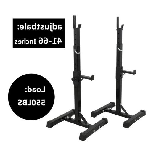 2 Barbell Rack Stand Squat Bench Press Home GYM Weight Liftt