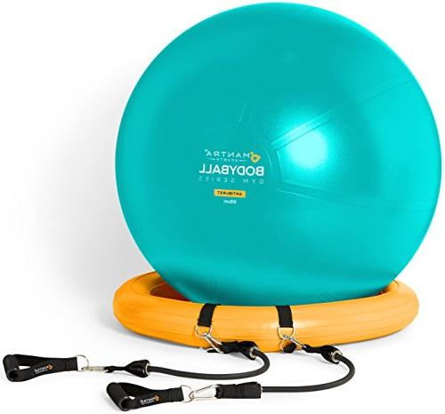 Exercise Ball Chair 65cm & Fitness Pilates Ball Stability Base Home Gym Office - Resistance & Pump. Core -
