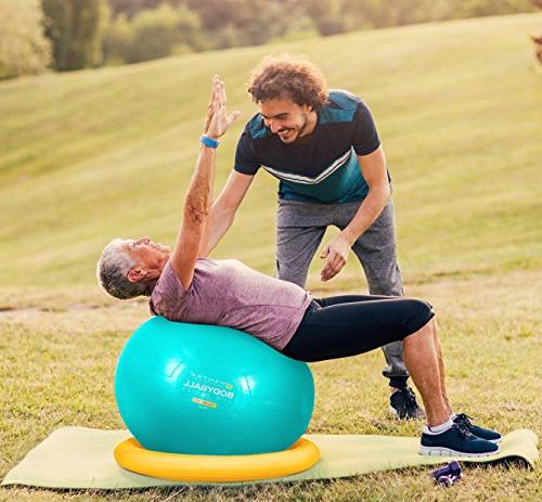 Exercise Ball 65cm & 75cm Fitness Ball Stability Gym Resistance Bands, & Balance, Core Strength Posture -