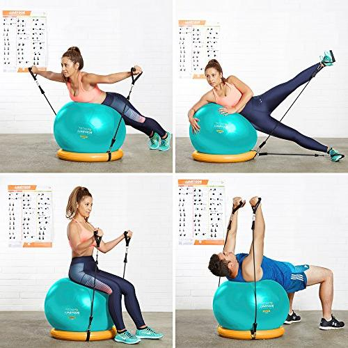 Exercise - 65cm & Yoga Fitness Stability Base Gym Resistance Workout & Core Posture - Men & Women
