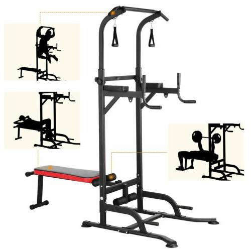 Adjustable Dip Station Chin Up Bar Power Tower Pull Push Hom
