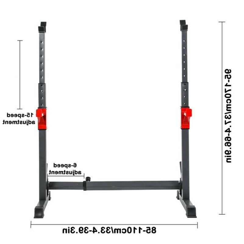 Adjustable Squat Bench Press Power Weight Barbell Stand Gym Home