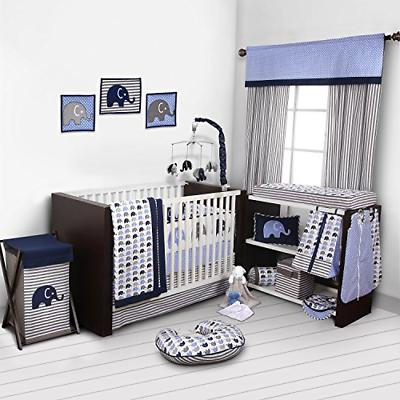 elephants blue grey 10 pc crib set