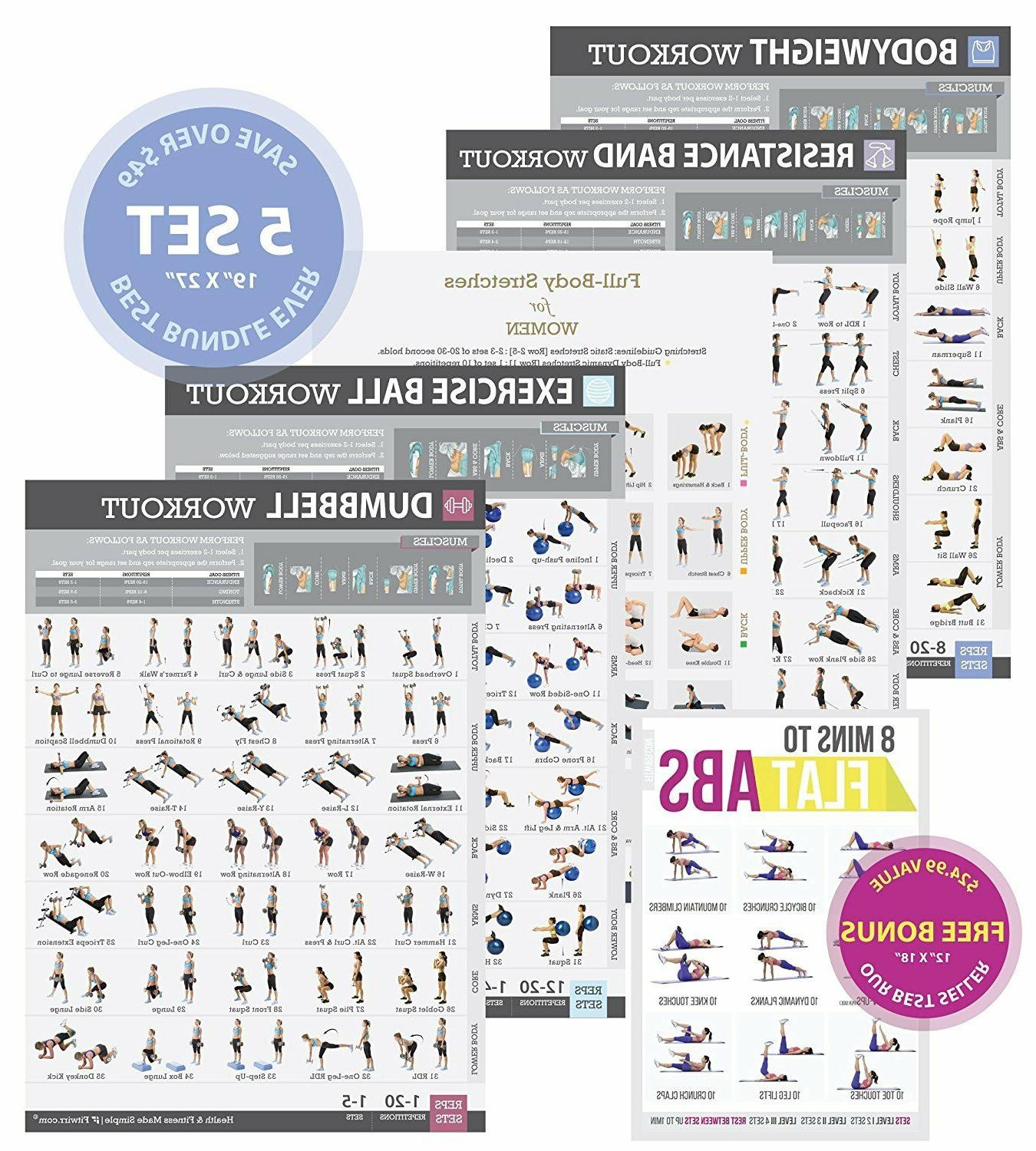 gym home exercise posters set of 5