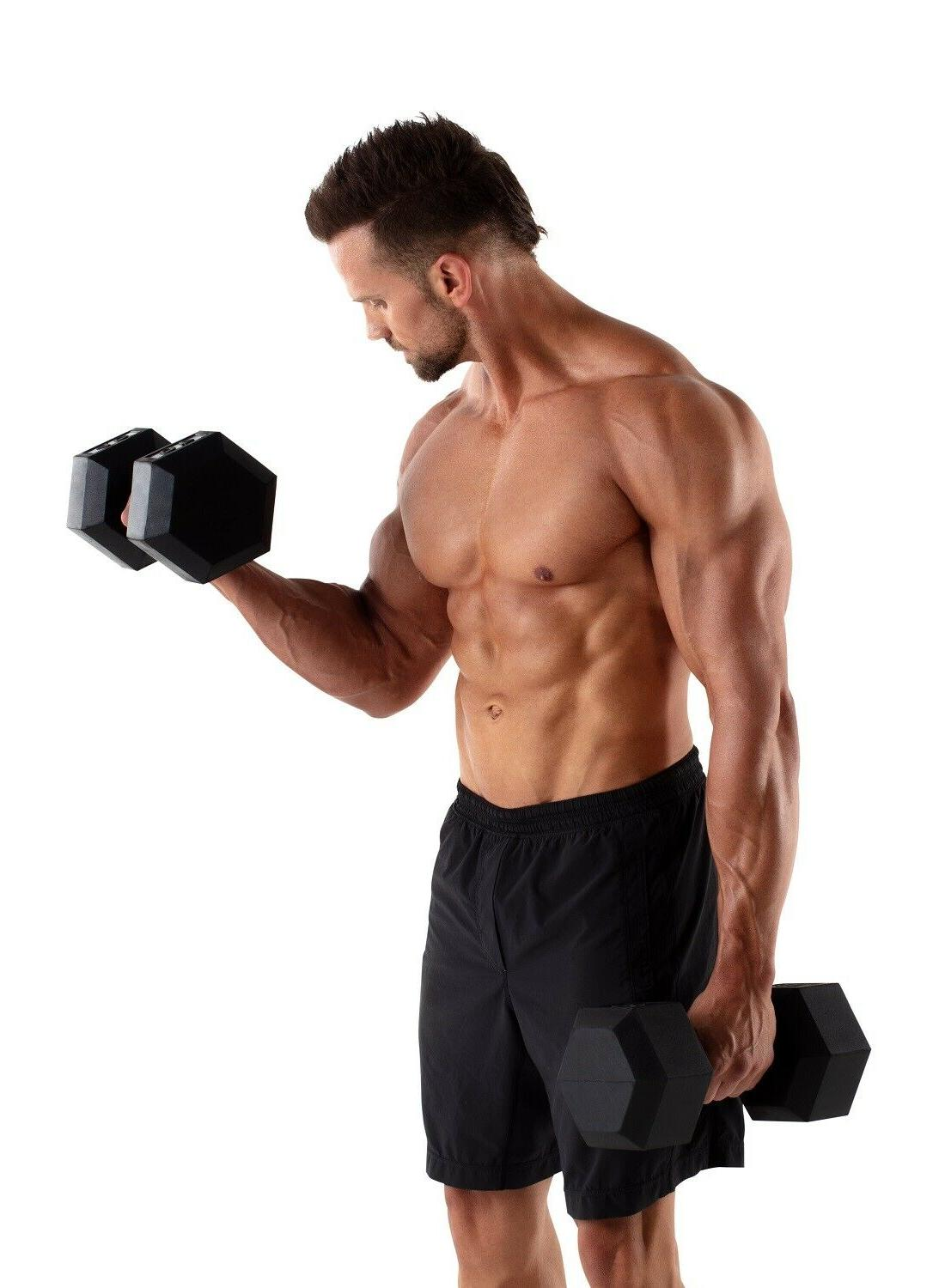 Hex Dumbbells Rubber Home Gym Weight Single