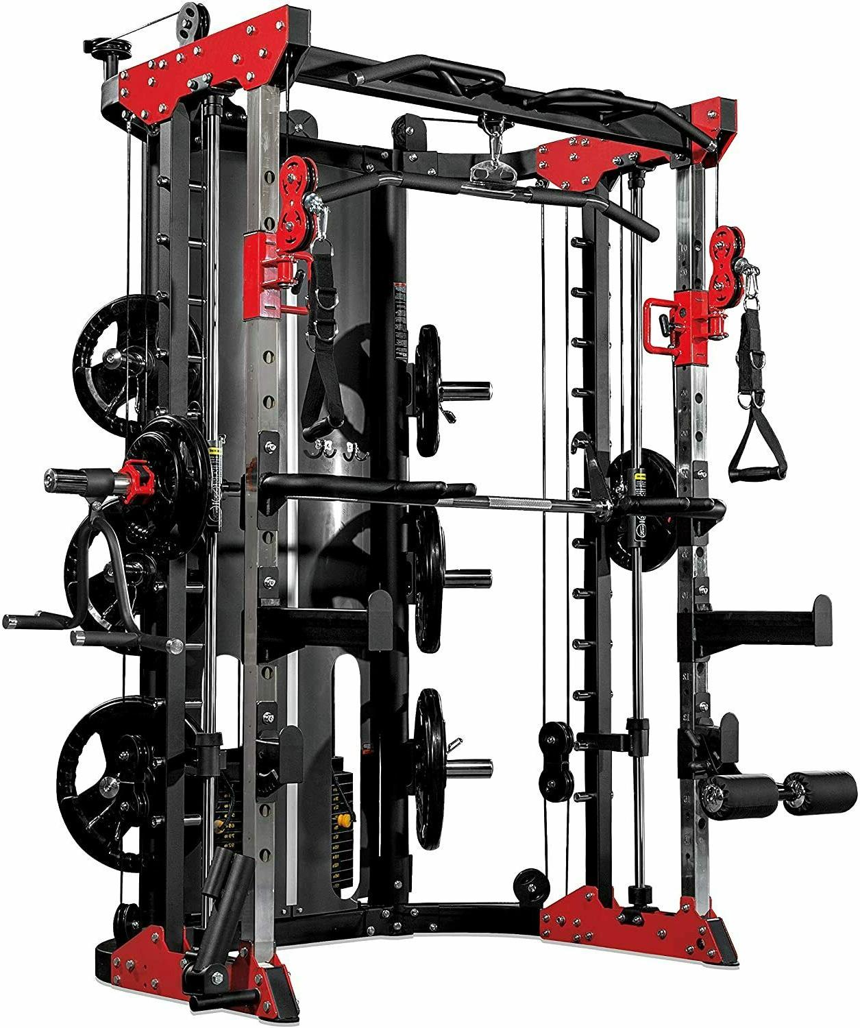 Multifunctional smith machine for home. .