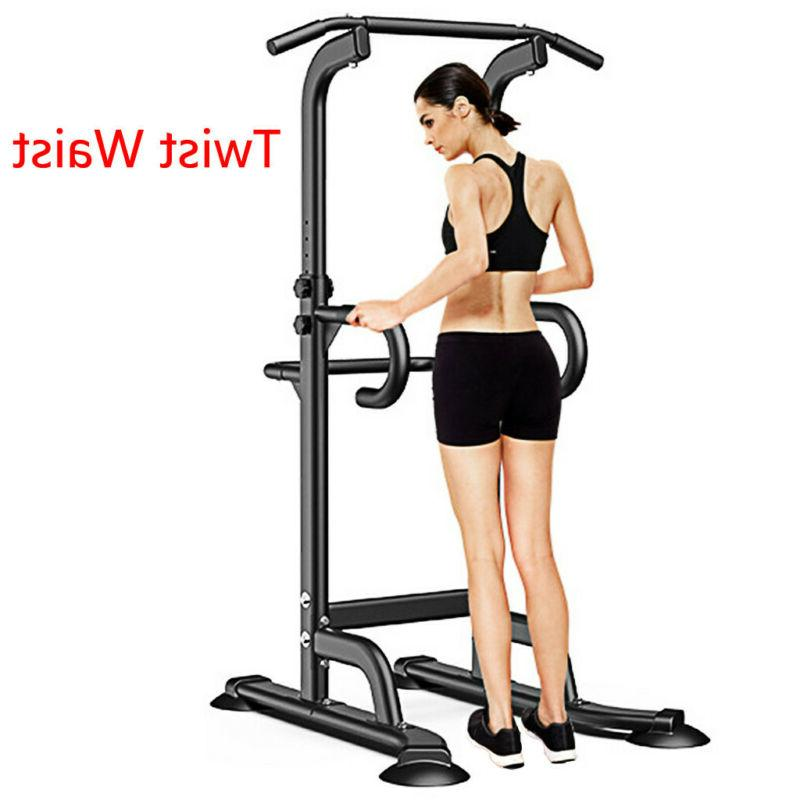 Adjustable Power Tower Pull Up Dip Station Home Gym Strength