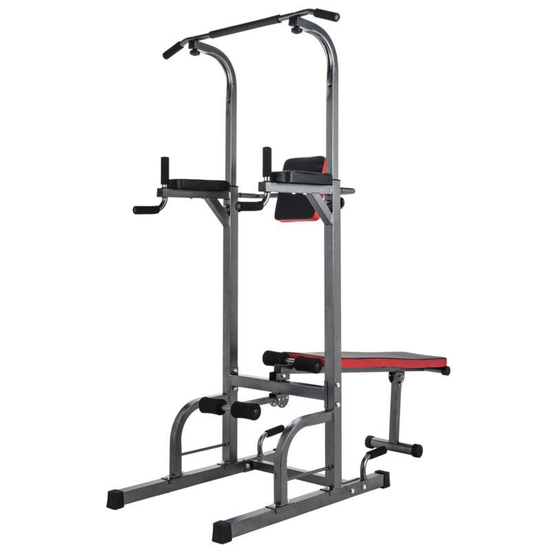 Power Tower Pull Up Bar Dip Station with Sit Up Bench Indoor