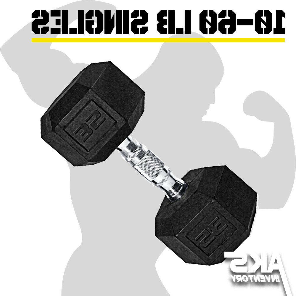 rubber hex dumbbell singles free weights home